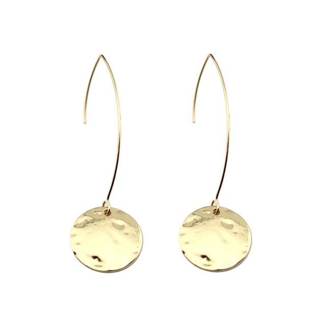 wholesale gold minimalist hammered circle disc drop hook