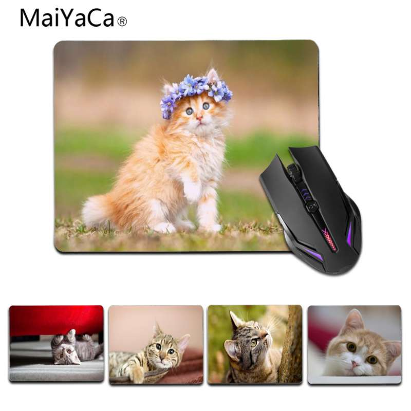 MaiYaCa Cool New A cat with a wreath. Beautiful animal Mouse Mat Size 25x29cm 18x22cm Rectangle mouse pad