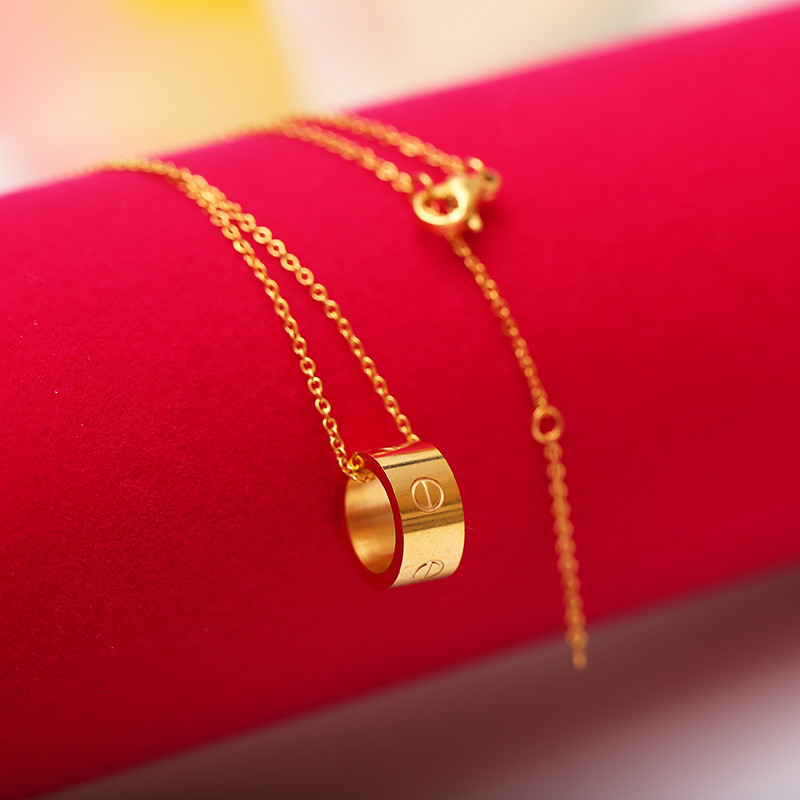 2017 Gold/Silver Plated Stainless Steel Round Pendant Necklaces for Woman Hollow Circle Necklace Gift