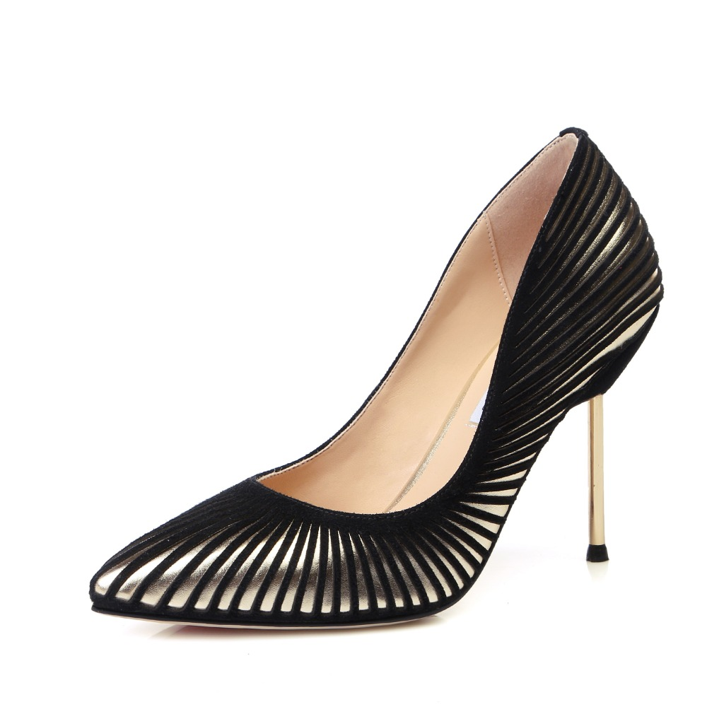 ФОТО 2015 New Europe America Style Women Genuine Leather Pointed Toe Thin High Heel Fashion Sexy Pumps 2016 New Sheepskin Shoes