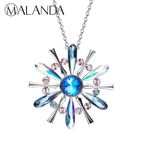 MALANDA New Fashion Long Chain Big Disk Necklaces For Women Colorful Crystal From Swarovski Sweater Chain Necklace Body Jewelry