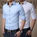 Новый 2016 Осень мужская мода бренды досуг рубашку с длинными рукавами/Мужской Slim Fit Бизнес воспитать в себе мораль хлопка рубашки