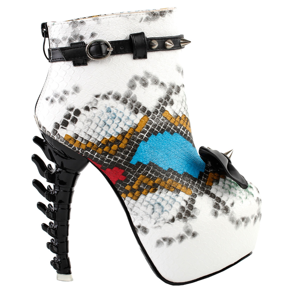 LF80653 Punk Black White Snake Skin Effect High-top Bone High Heel Platform Ankle Boots mld lf 1127 ankle supports
