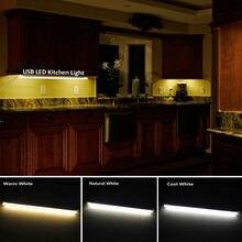 LED Освещение для кухни 5 В USB жесткой Светодиодные ленты свет затемнения Алюминий бар лампа для под кабинет Освещение Теплый Холодный белый