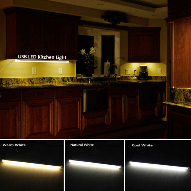 LED Kitchen Lights 5V USB Rigid LED Strip Light Dimmable Aluminum Bar Lamp  For Under Cabinet