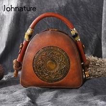 Johnature New Genuine Leather Retro Bag Women Totes Handmade Totem Handbags First Layer Cowhide Female Shoulder Messenger Bags