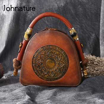 Johnature New Genuine Leather Retro Bag Women Totes Handmade Totem Handbags First Layer Cowhide Female Shoulder Messenger Bags - DISCOUNT ITEM  40 OFF Luggage & Bags