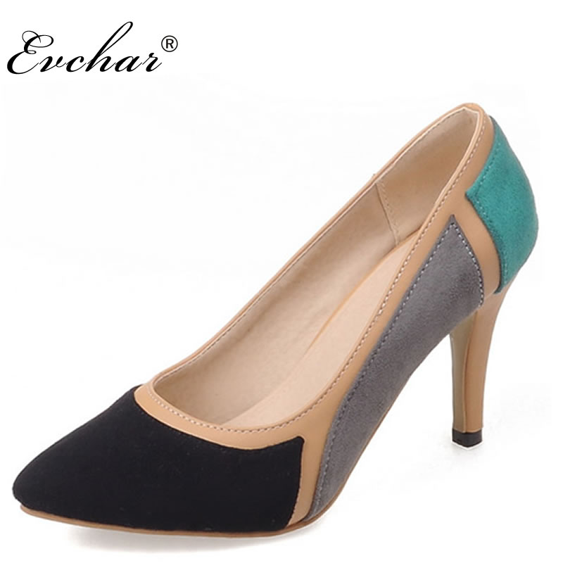 NEw fashion mixed color pointed toe Thin High heels woman shoes spring/autumn sexy wedding Female simple women's Pumps size33-43 bowknot pointed toe women pumps flock leather woman thin high heels wedding shoes 2017 new fashion shoes plus size 41 42