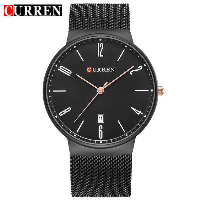 Curren Watches Men Brand Luxury Stainless Steel Mesh Strap Date Analog Quartz Mens Watch Fashion Sport Clock Black Wrist Watches  fashion luxury mens analog sport steel case quartz leather wrist watch 3447 brand new high quality luxury free shipping