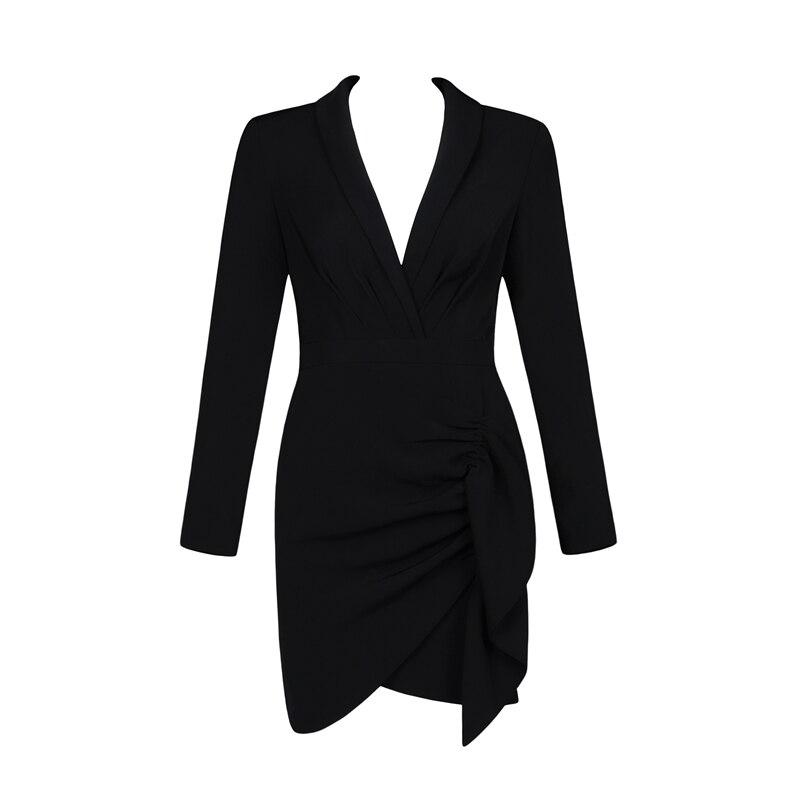 Bqueen Hiver Ligne Mini Femmes Sexy 2019 Dress V Gaine Cou Party Tendance Nouvelles Sleevedeep Lady Robe Club Longue Black tCQrshdx
