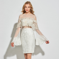 Tanpell sheath short cocktail dresses ivory full sleeves above knee lace gown lady homecomg party formal customed cocktail dress