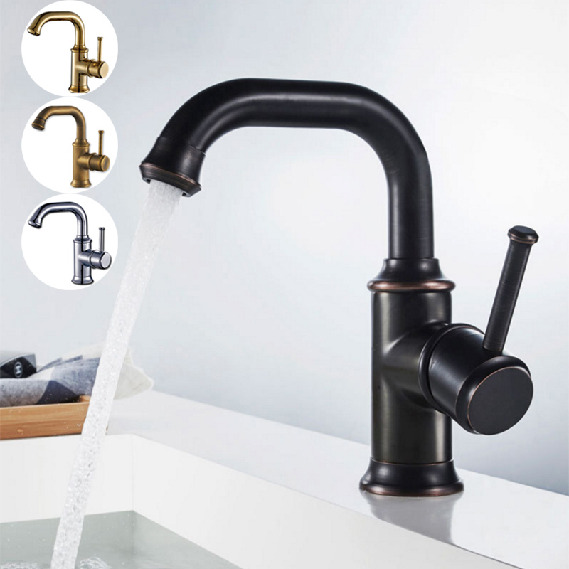 Black Bathroom Faucet Chrome Gold Bronze Antique Luxury Single Handle Single Hole Brass Hot and Cold Water Mixer Basin Tap newest washbasin design single hole one handle bathroom basin faucet mixer tap hot and cold water orb chrome brusehd