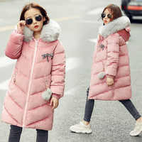 Girls Winter Warm Cotton-padded Jackets Children Winter Jacket Park for Kids Girl Long Large Fur Collar Outerwear Coats