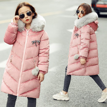 Girls Winter Warm Cotton padded Jackets Children Winter Jacket Park for Kids Girl Long Large Fur Collar Outerwear Coats