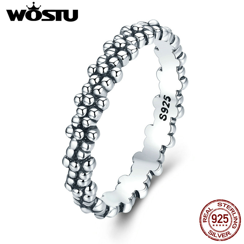 WOSTU Genuine 925 Sterling Silver Vintage Daisies Stackable Rings For Women Fine Jewelry Gift XCH7628 wostu new arrival real 925 sterling silver luminous glow rings for women authentic fine jewelry gift zbb7640