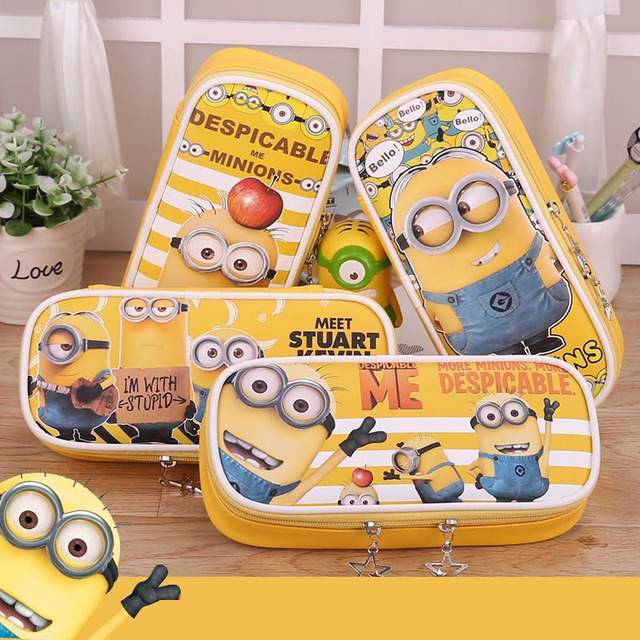 ded92ebec9 Korean stationery Minions school pencil case Kawaii Big Capacity PU leather stationery  pouch bags kids gift