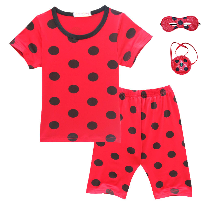 Cartoon Childrens Summer Pajamas Set Miraculous Ladybug Mask Bag Cute Girls Suite Kids Cosplay Costumes Red Sleepwear Clothes