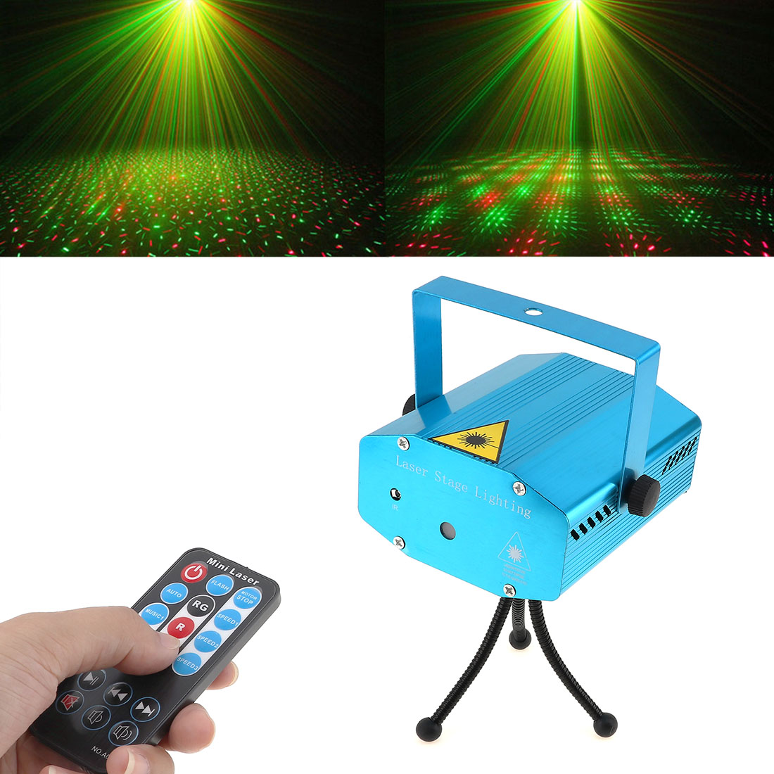 Mini LED Stage Light Laser Pointer Disco Party Pattern Lighting Projector RG Lase with Remote Control US /UK /AU/ EU plug