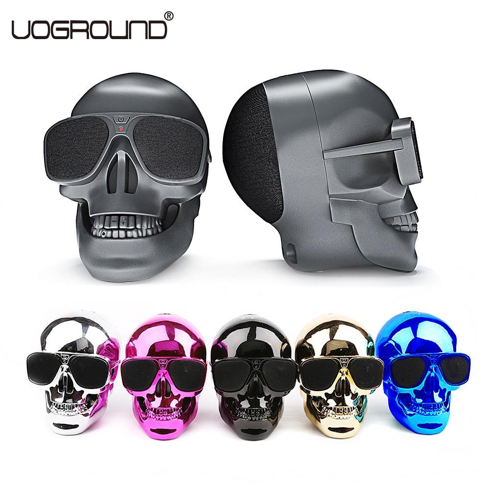 New Plastic Metallic Skull Shape Wireless Bluetooth Speaker NFC Skull Speaker Subwoofer Multipurpose Speaker Cool with