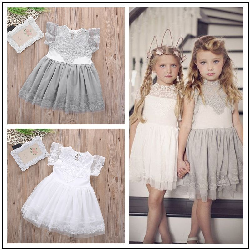 Girls Kid Baby Princess Dresses 2016 New Children Flower Party Clothing Lace Gray Pink White Floral Tulle Tutu Dress Girl Summer 2017 new summer clothes for girls lace dress baby princess dress white short sleeved hollow dresses children s clothing girl