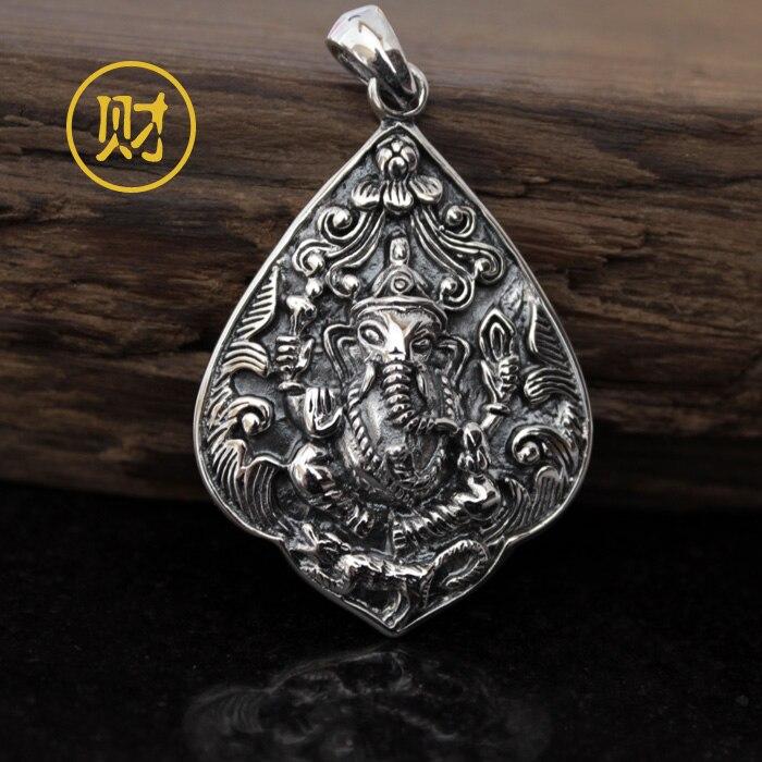 Compra auténtica Tailandia plata 925 Ganesha elefante nariz colgante ...