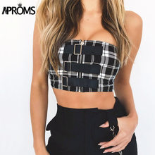 cc99fe31202 Aproms Elegant Zipper Plaid Print Tube 90s Cool Girls Tank Tops Streetwear  Camis Women Fashion Sexy Bustier Bra Feamle Crop Top