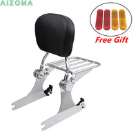 Motorcycles Adjustable Detachable Backrest Sissy Bar with Chrome Luggage Rack For Harley Dyna FXD FXDB FXDC FXDL 2006 Up
