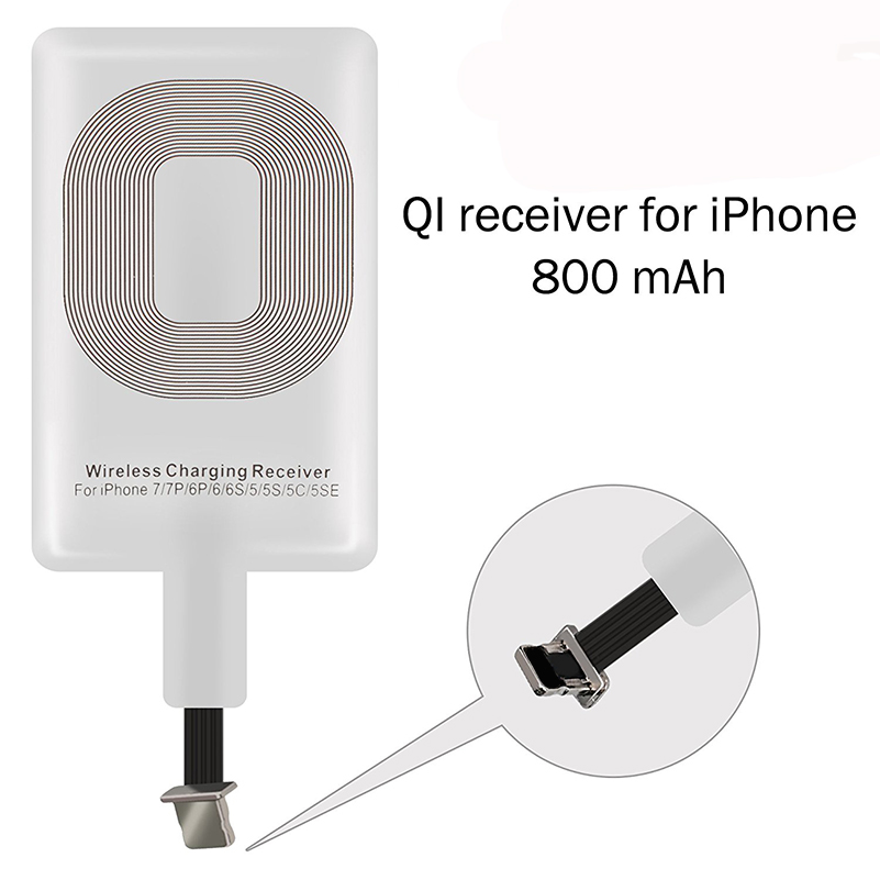 Ultra-thin <font><b>Qi</b></font> Standard Wireless Charging Receiver Adapter For <font><b>iPhone</b></font> 5 5S 5C SE <font><b>6</b></font> 6s 7 Plus Wireless Charger Receiver Patch image