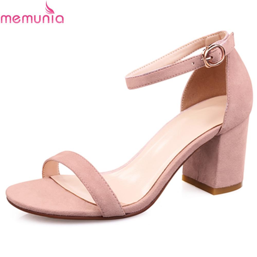 MEMUNIA 2018 hot sale sweet pumps women shoes thick high heels buckle strap solid balck summer Sandals high quality shoes memunia new arrive hot sale genuine