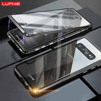 LUPHIE 360 Degree Full Magnetic Case For Samsung Galaxy S10 Plus S10e Front Back Glass Case Cover For Samsung S10 Magnet Cases