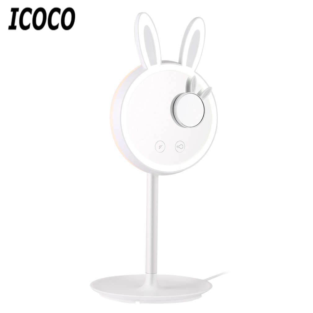 ICOCO Intelligent Touch Switch LED Light Rabbit Shaped Makeup Cosmetic Mirror Storage Table Lamp Built-in Battery Drop Shipping creative smart rabbit alarm clock lamp light rabbit shaped led music sound controlled night light for indoor decor drop shipping