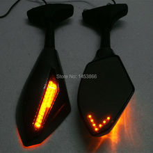 CARBON FIBER MOTORCYCLE MOTOR BIKE LED TURN SIGNALS INTEGRATED MIRRORS