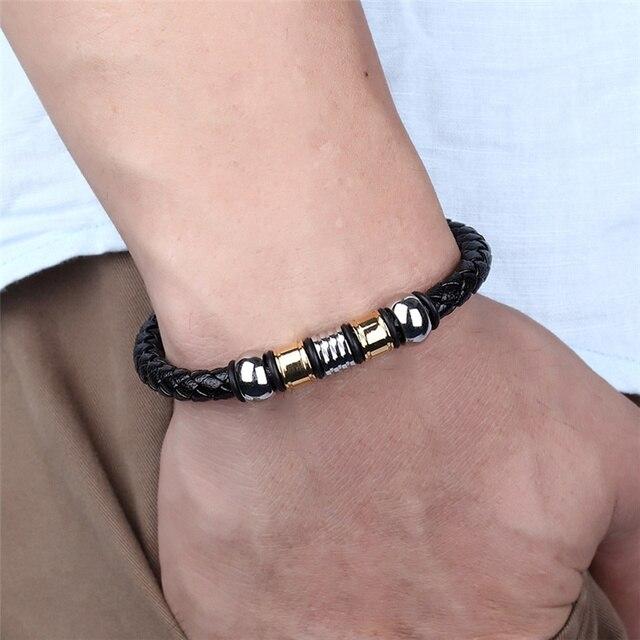 Janeyacy панк мужские ювелирные изделия черный кожаный браслет