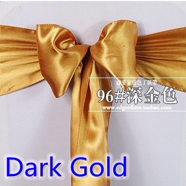 Dark Gold Colour Satin Sash Chair Sash Wedding Decoration Bow Tie Chair Band Party Hotel Show Decoration Sash Shiny Colour