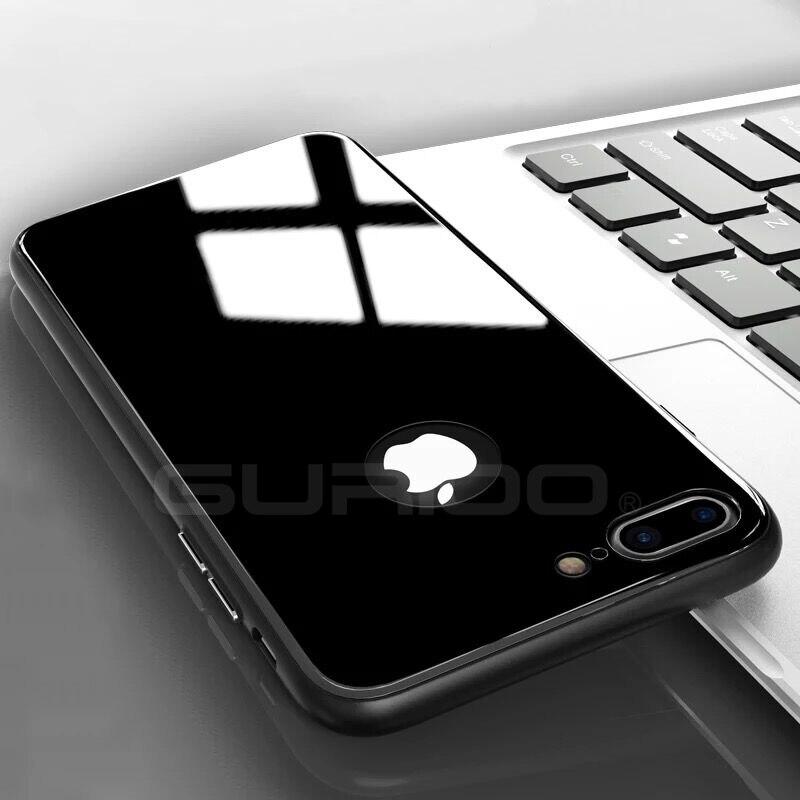 e7422a5e051 Τηλέφωνο Τσάντες & θήκες Gurioo For Apple iPhone 6 6S 7 8 Plus Case glass + Soft  TPU Super Thin Slim Fit Phone Cases for iPhone 8 Plus Capa Funda