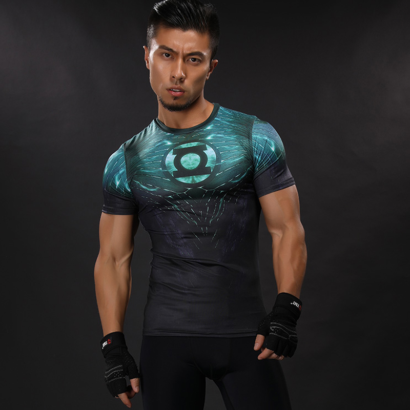 3D Printed T-shirts Men FLASH Compression Shirt Raglan Short Sleeve Crossfit Fitness Cloth Tops Male Cosplay Costume 2017 NEW