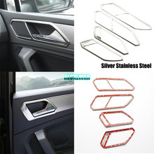 цена на Stainless Steel Inner Door Handle Covers Inner Door Protection Trim Sticker For Volkswagen VW Tiguan 2017 2018 Car Accessories