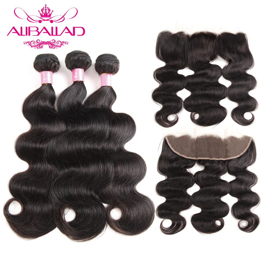 Aliballad Malaysian Body Wave Bundles With Frontal Nonremy Human Hair With Frotnal 13x4 Lace Frontal With