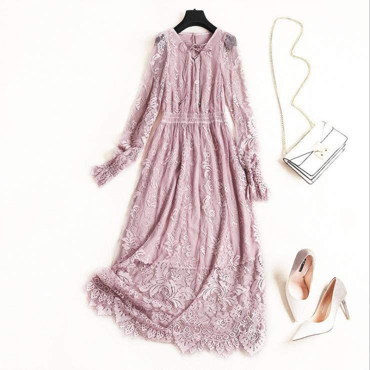 European and American women's fashion 2019 spring new style  Flared sleeve v-neck Elastic waist Bud silk Elegant dress