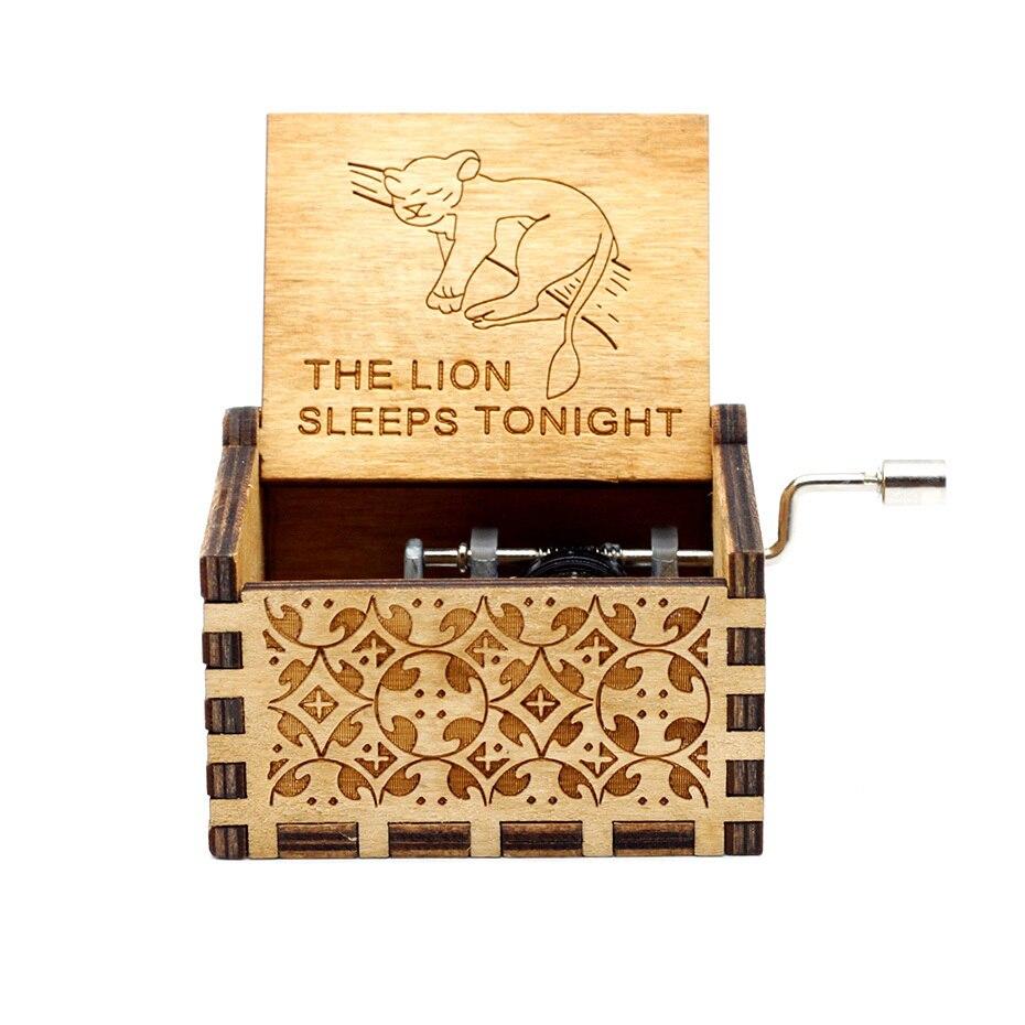 Деревянная музыкальная шкатулка с коленчатым коленом Красавица и Чудовище Звездные войны остров принцесса для Рождества с днем рождения подарок детям подарок - Цвет: Sleep Lion