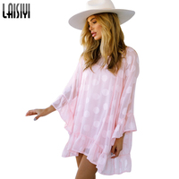 LAISYI Polka Dots Pink Cute Mini Short Dresses Ruffles Long Sleeve Loose Two Piece Bohemian Dress