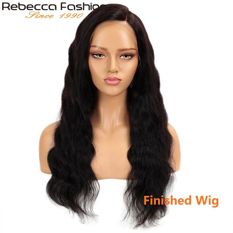 Rebecca peruca de cabelo humano laço frontal 13x4 laço personalizado 8 a 28 Polegada onda do corpo cabelo humano por remy cabelo humano brasileiro