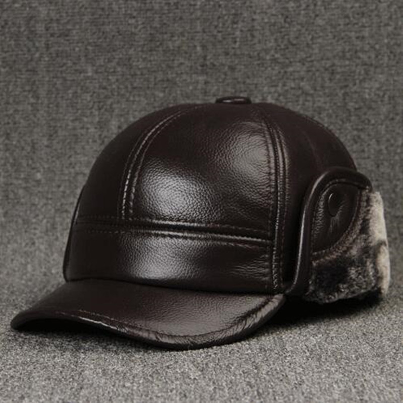 цена на Winter Hat For Men Leather Cowhide Warm Baseball Caps With Ear Protection Plus Velvet Thicker Brand Male Cap Snapback Dad's Hats
