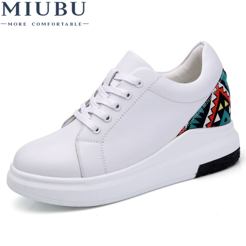 MIUBU Women Sneakers fashion white Platform Shoes Genuine Leather Lace up Ladies Vintage Stitching Cute Spring Casual Shoes in Women 39 s Flats from Shoes