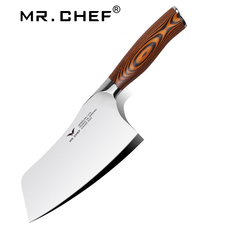 Professionnel 7 pouce Couperet Chinois Allemagne Chefs En Acier Au Carbone Couteau De cuisine couteau de Cuisine Facas Cozinha Pakkawood Poignée