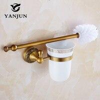 Buena Calidad del Estilo Europeo Latón Wc Portaescobillas Accesorios de Baño WC Cepillo Con Un Mango Largo Para El Inodoro YJ-7962