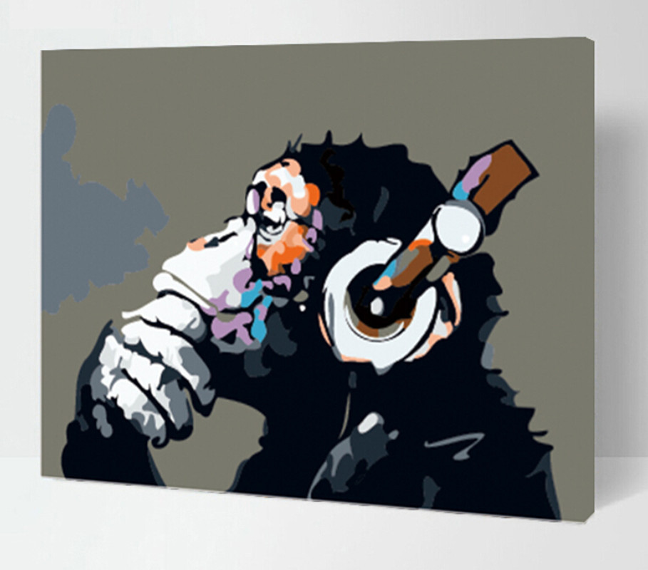 Diy digital oil painting abstract drawing cartoon monkey for Pictures to draw on canvas