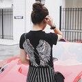 2016 Новый Секси Стройная Дамы Европейский Американский свободные короткими рукавами футболки блестками крылья назад топ Черная Футболка большой ярдов топ ти