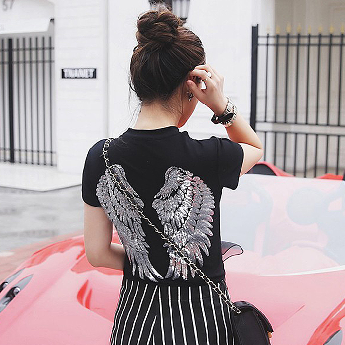 2018 New Sexy Slim European loose short-sleeved Tiger Red lips Letter t-shirt sequined wings top Black T-shirt big yards tee