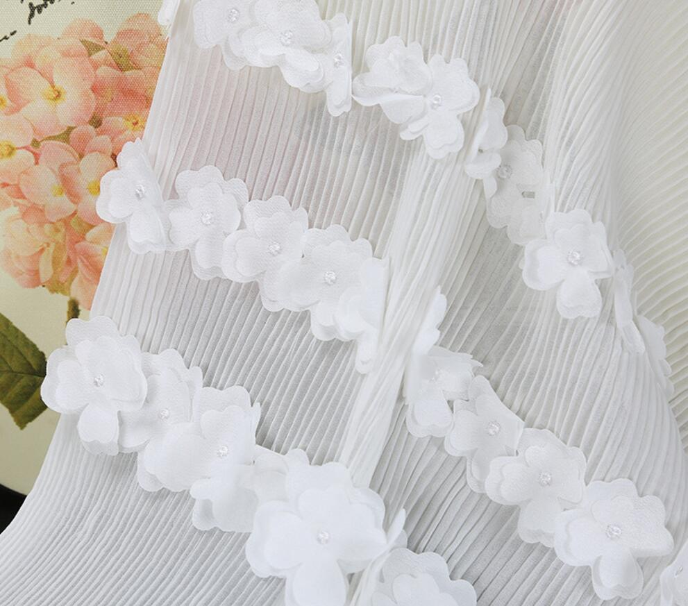 1yard White 3d Embroidered Flower Pleated Fabric Lace Cloth For